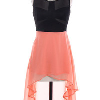 Nops & Minted  — coral and black dress