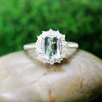 Emerald Cut Green Tourmaline and Diamond Engagement Ring, 14k Solid Gold (Free Shipping)