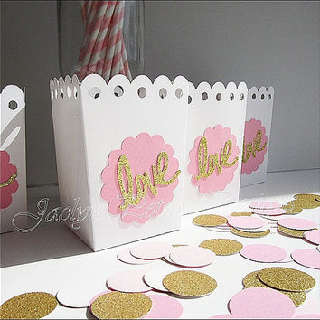 Favor Box, Pink And Gold, Glitter Love, Popcorn Holder, Wedding Decoration, Bridal Shower, Dessert Bar Supply, Choice Of Color, Set Of 12