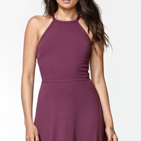 Kendall & Kylie Ribbed Tie Back Fit And Flare Dress - Womens Dress - Purple