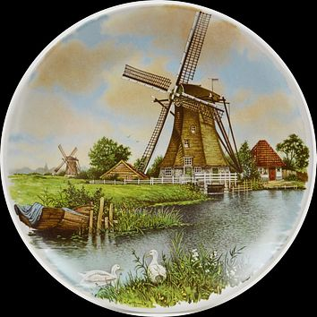 Souvenir Plate Mill with Geese Color