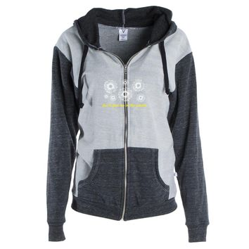 You'll Find Me In The Garden Womens Color Block Kangaroo Pocket Zip-Up Hoodie