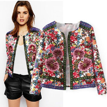Autumn Vintage Embroidery Floral Decoration Women's Fashion Jacket [5012997892]