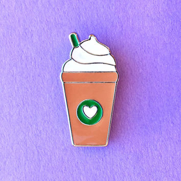 """Handmade """"Frappucino Love"""" Coffee Starbucks Inspired Frapp Enamel Pin Tie Tack with Heart and Whipped Cream"""