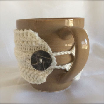 Coffee Cup Cozy Hand Knit Mug Cozy Mug Cozy Knit Cup Cozy Tea Cup Cozy Knitted Cup Cozy Knitted Mug Cozy White Cup Cozy White Knitted Cozy