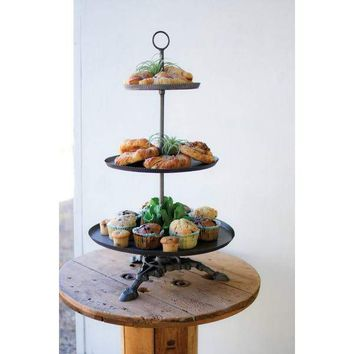 3 Tiered Round Metal Serving Tower With Cast Iron Base