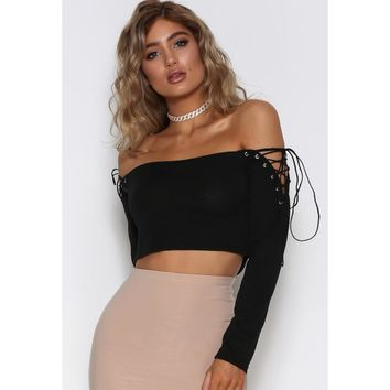 Women Fashion Solid Color Off Shoulder Backless Hollow Bandage Long Sleeve Crop Tops