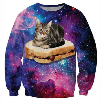 Peanut Butter And Cats In Space Crew Neck Sweatshirt Men & Women Harajuku Style All Over Print Sweater