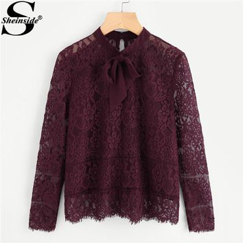 Sheinside 2017 Long Sleeve Blouse Burgundy Stand Collar Tie Neck Bow Eyelash Lace Plain Top Women Elegant Blouse