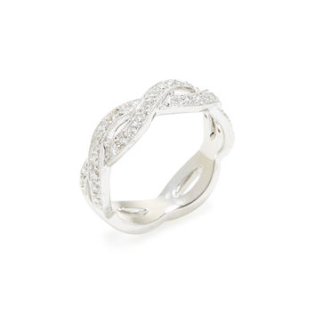 Sydney Evan Women's Pave Diamond Twisted Eternity Band Ring - Silver