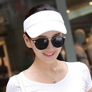 Fashion Adjustable Solid Women Summer Sun Visor Hat Sport Golf Tennis Baseball Caps Hollow Top 56 60cm Adjustable Ht 01665