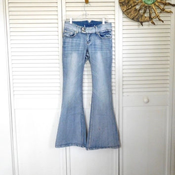 Hippie Bell Bottoms Denim Jeans Vintage Clothing Medium Wash