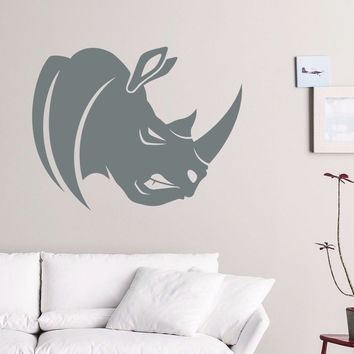 Wall Decals Rhino African Animal Decal Home Living Room Sticker Decor Art MR485