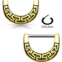 Maze Tribal Fan Nipple Clicker Rings Barbell Barbells 14g 316L Stainless Steel - Sold as a Pair (Antique Gold Tone)