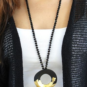 Gold Open Circle Beaded Long Necklace