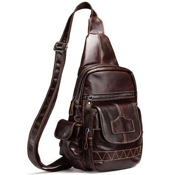 New First Layer Genuine Leather Sling Chest Back Pack Real Cowhide Travel Trend Trend Daypack Messenger Shoulder Cross Body Bag