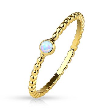 Opal Set Gold Plated Braided Stackable Ring/Mid Ring