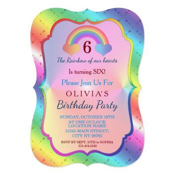 Joyful Rainbow Arrows GIRL Birthday Invitation