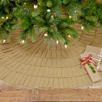 Festive Natural Burlap Ruffled Tree Skirt