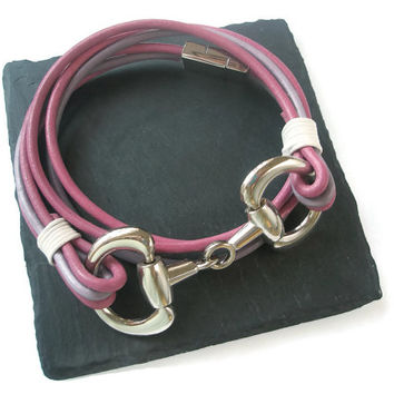 Equestrian wrap Bracelet Horse jewellery Leather and Metal Pink Purple Silver magnetic clasp Snaffle Bit
