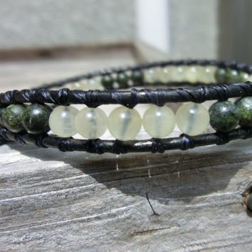 Handmade Jasper and Aragonite Unisex Bracelet - Earth and Sunshine - Stress Relief and Loyalty