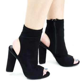 Sunlight04 Black Lycra by Bamboo, Peep Toe Ankle Bootie w Chunky Block Heel & Open Heel & Zipper