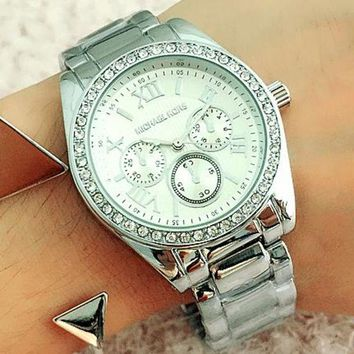 DCCKJ1A MK Michael Kors Stylish Ladies Men Casual Three Eye Diamond Quartz Movement Watches Wristwatch Silver I-Fushida-8899