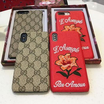 Gucci Temperament Retro GG Flower Embroidery iPhoneX/8/6S Hard Phone Case Apple iPhone 7 Plus Leather Phone Shell