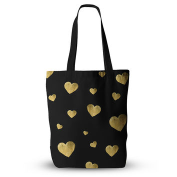 "Robin Dickinson ""Floating Hearts"" Gold Black Everything Tote Bag"