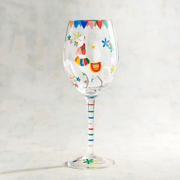 Llama Painted Wine Glass