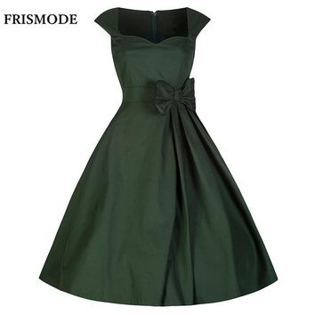FRISMODE Red Purple Black Green Audrey Hepburn Style 1950s 60s Dresses Summer Sleeveless Dress Women Retro rockabilly Dresses