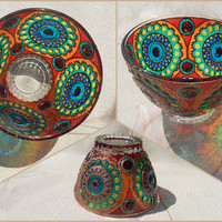 Glass BOWL   gift, salad bowl, candle holder, dinnerware, home decor   stained glass, hand painted, vitrage painting  Rainbow. Circle   OOAK