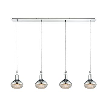 Ravette 4-Light Linear Pendant Fixture in Polished Chrome with Clear Ribbed Glass