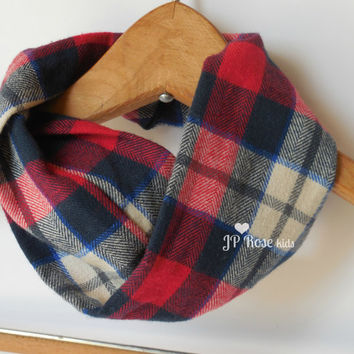 Baby Boy Scarf, Drool Bib, Lumberjack Plaid in Red,White and Blue,Infant Infinity Scarf  for Size 6 months, Baby Dribble Bib