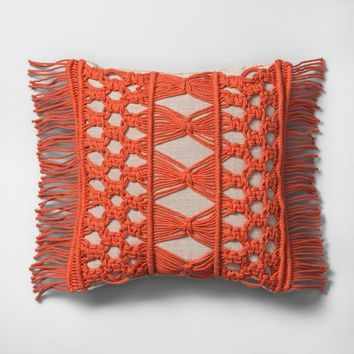 Camellia Macrame Mini Throw Pillow Beige - Opalhouse™