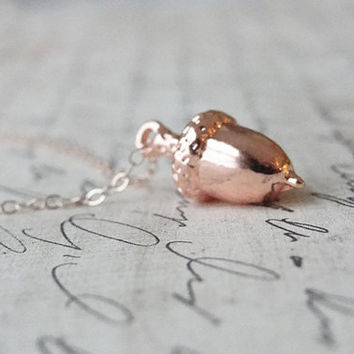 Rose gold acorn necklace - rose gold necklace with small acorn charm