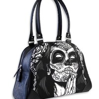 Liquor Brand Gypsy 4 Praying Sugar Skull Lady Bowler Handbag