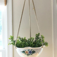 Large Hanging Ceramic Planter, Floral Pottery Planter, Hanging Flower Vase