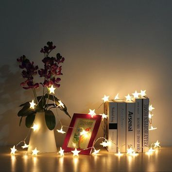 Warm White LED Boho Style Battery Star String Lights