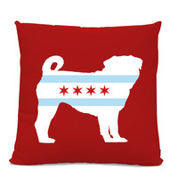 Chicago Flag Pug Pillow - Chicago Home Decor - Pug pillow - dog breed silhouette pillow - dog home decor - Pug home decor - pug pillow