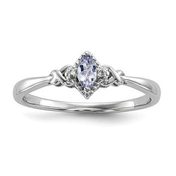 Sterling Silver Diamond And Marquise Cut Tanzanite Ring