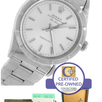 MINT Rolex Oyster Perpetual Air-King Silver Stainless 14010 34mm Watch 14000