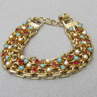 High-End 1960's Vintage Simulated Pearl, Turquoise, Ruby Gold Tone Heavy Chain Bracelet