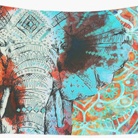 'Sketched Indian Elephant' Wall Tapestry by ImageMonkey