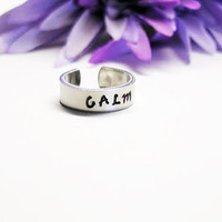 Calm Ring - Personalized Ring - Inspirational Ring - Handstamped Ring - Aluminum Ring - Adjustable Ring - Silver Ring - Custom Ring