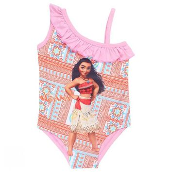 EMS/DHL Free shipping 2017 Baby Girl Moana Ocean Romance Children Swimwear Swimsuit Cartoon Printing One-piece Swimsuit Summer