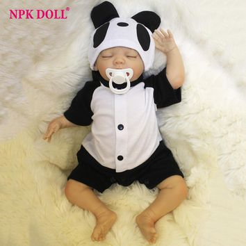 45cm Bebes doll Reborn Handmade Real Looking Baby Doll Closed Eyes Panda Clothes Dolls Child Brithday Gift Girls Brinquedos