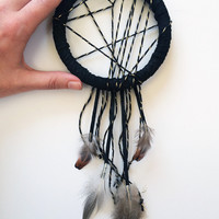 Boho Black Dreamcatcher - Christmas Presents for Guys - Modern Bohemian Dream Catcher - Boho Wall Hanging - Autumn Home Decor - Modern Fall
