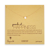 pearls of happiness white pearl necklace, gold dipped