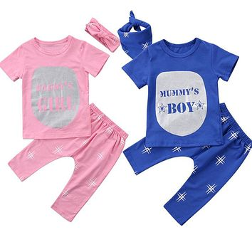 Family Matching Toddler Baby Boys Girls Clothes Short Sleeve O-neck Tops Pants Headwear Outfits 3Pcs